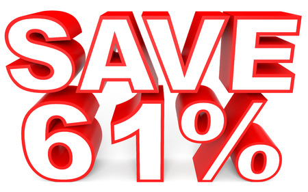 bargains: Discount 61 percent off. 3D illustration on white background. Stock Photo