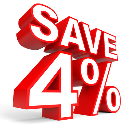 Discount 4 percent off. 3D illustration on white background.