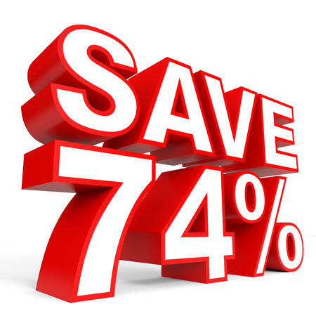 bargains: Discount 74 percent off. 3D illustration on white background.
