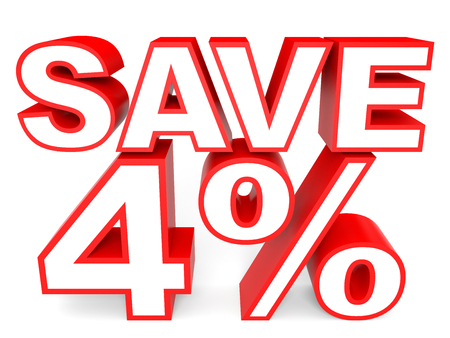 stock price losses: Discount 4 percent off. 3D illustration on white background.