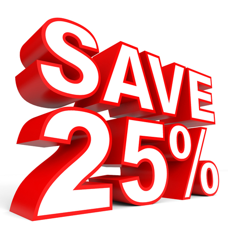 bargains: Discount 25 percent off. 3D illustration on white background. Stock Photo