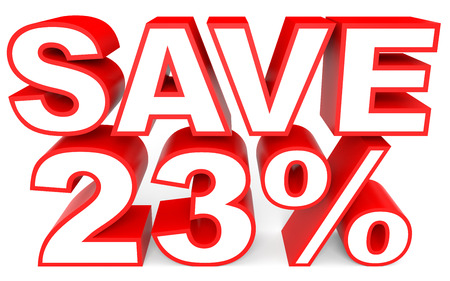 bargains: Discount 23 percent off. 3D illustration on white background.