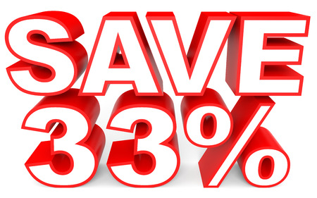 Discount 33 percent off. 3D illustration on white background. Stock Photo