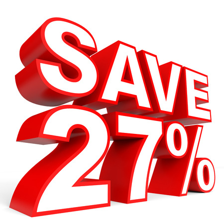 Discount 27 percent off. 3D illustration on white background.