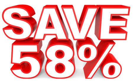 Discount 58 percent off. 3D illustration on white background. Foto de archivo