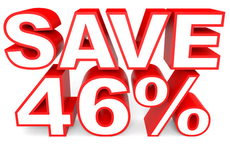 Discount 46 percent off. 3D illustration on white background.
