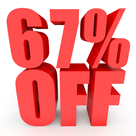 Discount 67 percent off. 3D illustration on white background.