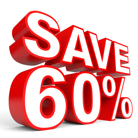 stock price losses: Discount 60 percent off. 3D illustration on white background.
