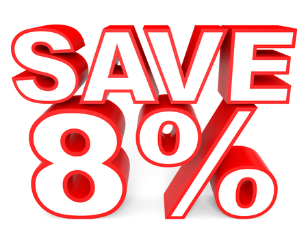 stock price losses: Discount 8 percent off. 3D illustration on white background. Stock Photo
