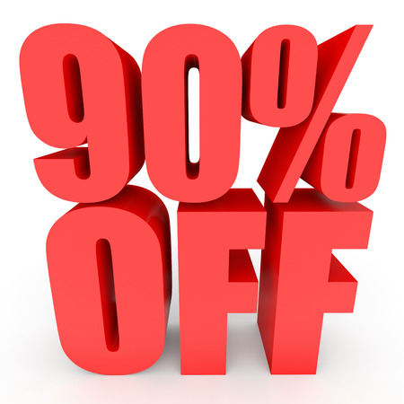 Discount 90 percent off. 3D illustration on white background.