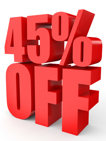 45: Discount 45 percent off. 3D illustration on white background.