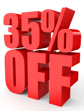 35: Discount 35 percent off. 3D illustration on white background.