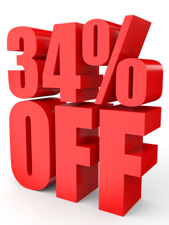 thirty percent off: Discount 34 percent off. 3D illustration on white background. Stock Photo