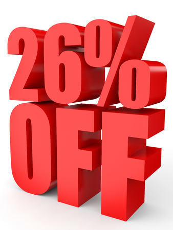 Discount 26 percent off. 3D illustration on white background.