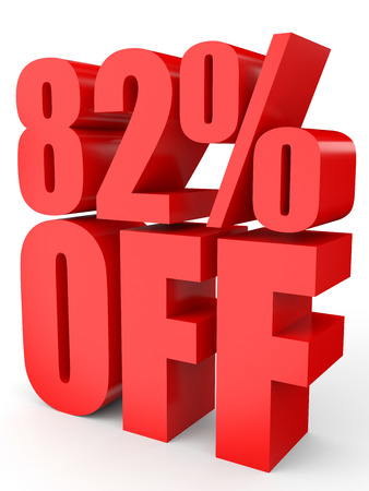 Discount 82 percent off. 3D illustration on white background. Stock Photo
