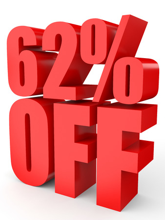 bargaining: Discount 62 percent off. 3D illustration on white background.