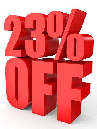 Discount 23 percent off. 3D illustration on white background.