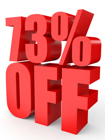 seventy: Discount 73 percent off. 3D illustration on white background.