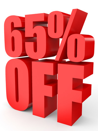 65: Discount 65 percent off. 3D illustration on white background.