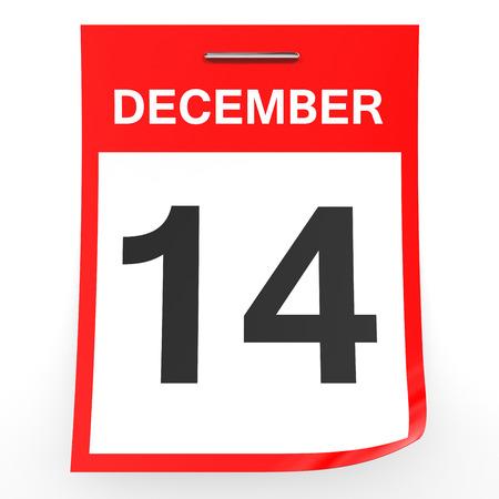 fourteenth: December 14. Calendar on white background. 3D illustration. Stock Photo
