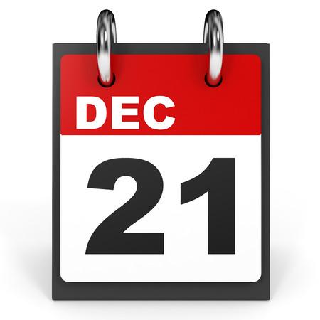 december 21: December 21. Calendar on white background. 3D illustration.