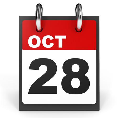 28: October 28. Calendar on white background. 3D illustration. Stock Photo