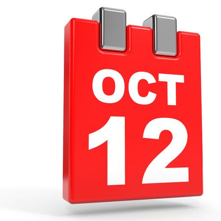 October 12. Calendar on white background. 3D illustration. Stock Photo