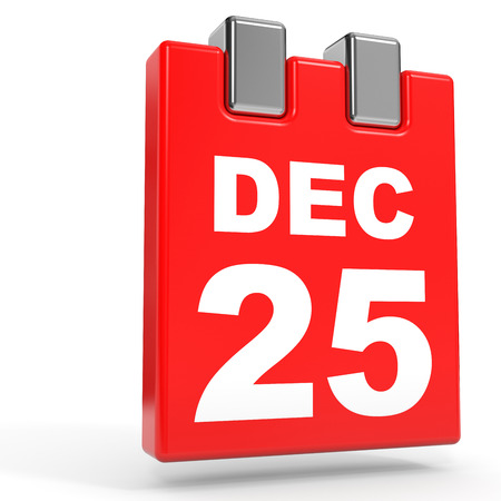 25 december: December 25. Calendar on white background. 3D illustration.