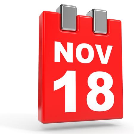 18: November 18. Calendar on white background. 3D illustration.