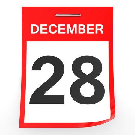 28: December 28. Calendar on white background. 3D illustration.