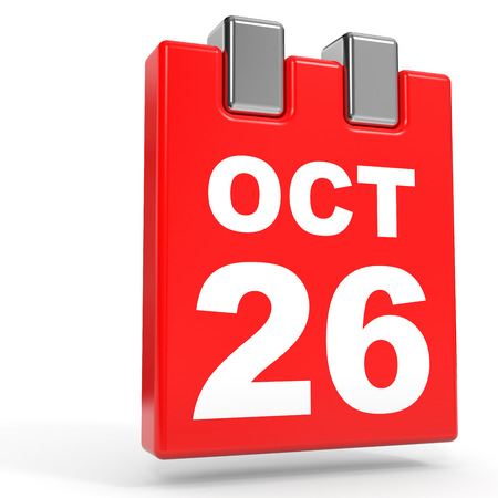 October 26. Calendar on white background. 3D illustration.