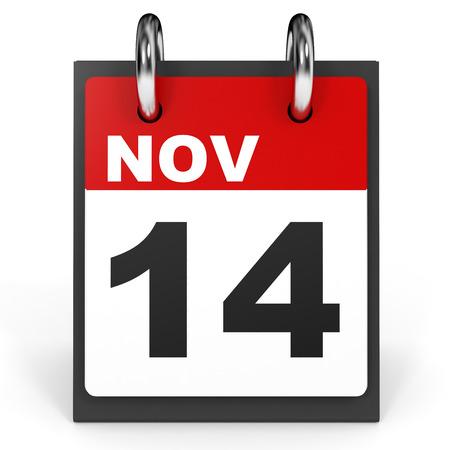 fourteenth: November 14. Calendar on white background. 3D illustration. Stock Photo