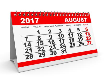 Calendar August 2017 on white background. 3D illustration.