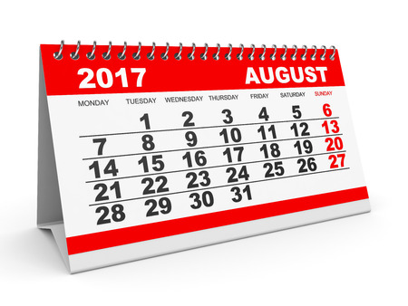 Calendar August 2017 on white background. 3D illustration.