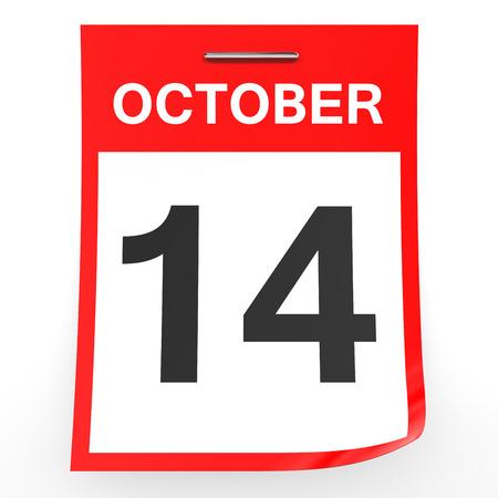 fourteenth: October 14. Calendar on white background. 3D illustration. Stock Photo