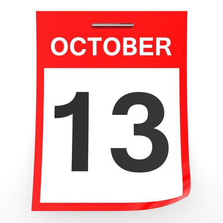 13: October 13. Calendar on white background. 3D illustration. Stock Photo