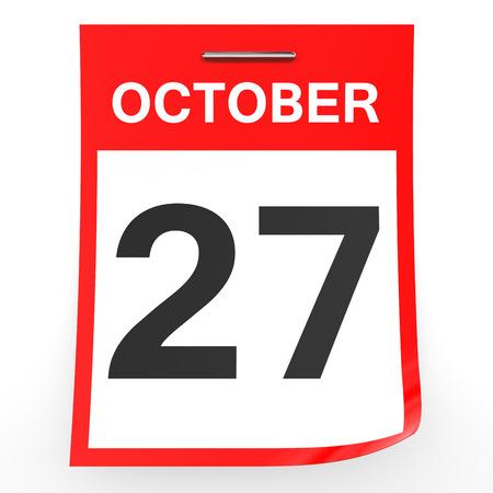 27: October 27. Calendar on white background. 3D illustration.