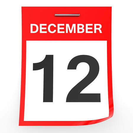 a 12: December 12. Calendar on white background. 3D illustration.