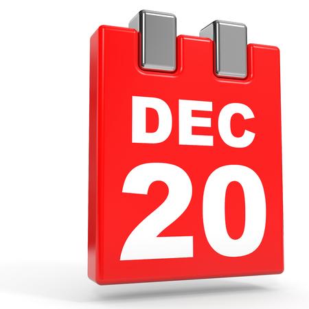 December 20. Calendar on white background. 3D illustration.