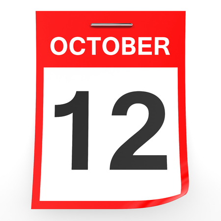 a 12: October 12. Calendar on white background. 3D illustration. Stock Photo