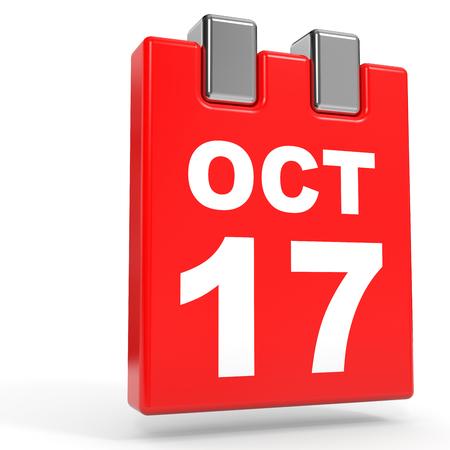 seventeenth: October 17. Calendar on white background. 3D illustration.