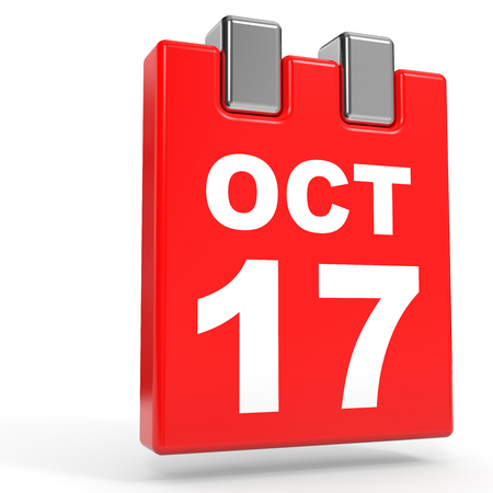 October 17. Calendar on white background. 3D illustration.