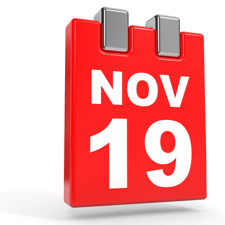 November 19. Calendar on white background. 3D illustration.