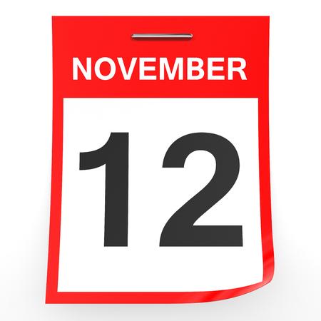 12: November 12. Calendar on white background. 3D illustration. Stock Photo