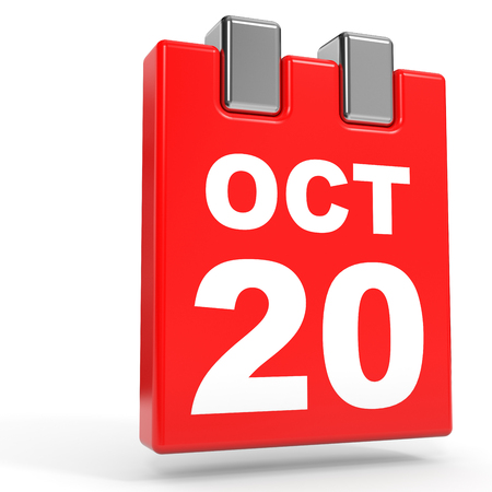 October 20. Calendar on white background. 3D illustration.