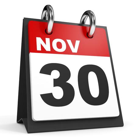 30 de noviembre. Calendario sobre fondo blanco. Ilustración 3D. Foto de archivo