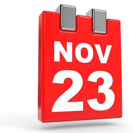 November 23. Calendar on white background. 3D illustration.