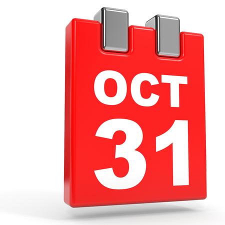 calendario octubre: 31 de octubre de calendario en el fondo blanco. Ilustración 3D. Foto de archivo