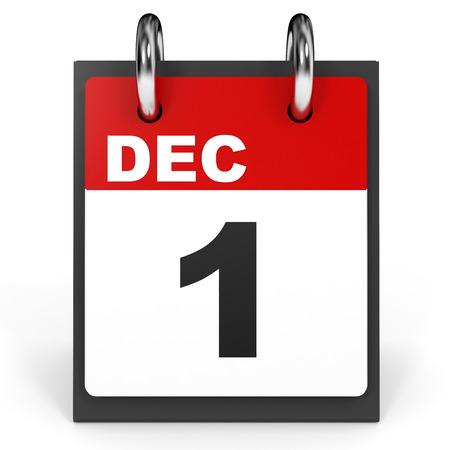 1. Dezember Kalender auf weißem Hintergrund. 3D-Darstellung. Standard-Bild