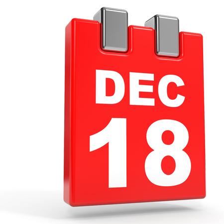 December 18. Calendar on white background. 3D illustration. Stock Photo